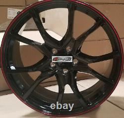 20 Wheels Black Red Rims Type R Style Fit Honda Accord Civic Sedan Coupe 5 lug