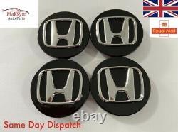 4x Honda Black/Silver Car Centre Caps Hub Caps Civic Accord Type R/S 68mm