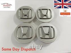 4x Honda Silver Centre Caps Hub Caps OEM PS+PPE Civic Accord Type R Type S 68mm