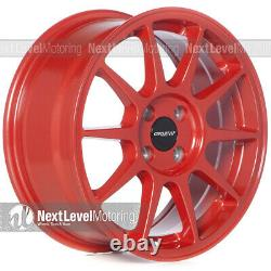 Circuit CP23 16×7 4-100 +35 Gloss Red Wheels Type R Style Fits Honda Civic JDM
