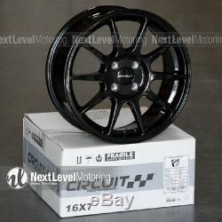 Circuit CP23 16x7 4-100 +35 Gloss Black Wheels Type R Style Fits Honda Civic JDM