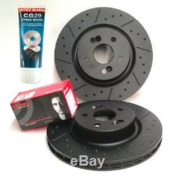 Civic Type R EP3 FN2 Front DrilledGrooved MTEC Black Brake Discs BremboPads Lube
