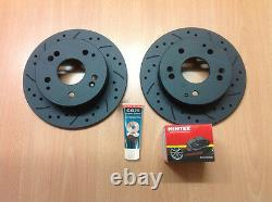 Civic Type R EP3 Rear Drilled Grooved MTEC Brake Discs & Mintex Pads & Lube