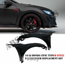 FOR 16-20 Honda Civic Sedan Type-R Style Metal Fender Set With Vent Insert Unpaint