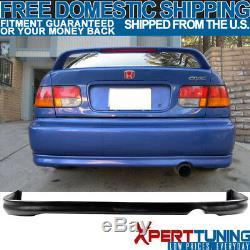 Fit 96-98 Honda Civic EK 2 JUN Front + Rear Bumper Lip + T-R Front Hood Grill