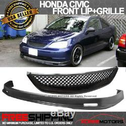 Fits 01-03 Honda Civic Mugen Style PP Front Bumper Lip Spoiler + ABS Hood Grill