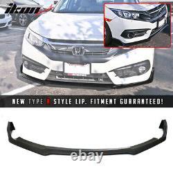 Fits 16-18 Honda Civic 10th Gen Type R Style Front Bumper Lip Unpainted PU