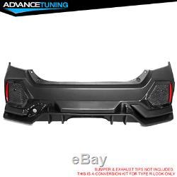 Fits 17-18 Honda Civic Hatchback Type R Rear Bumper Cover Conversion Kit