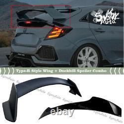Fits 2017-2021 Honda CIVIC Hatchback Type-r Style Wing + Duckbill Spoiler Combo