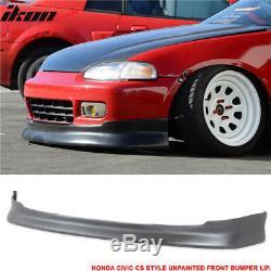 Fits 92-95 Honda Civic CS Type Front Bumper Lip Unpainted PU Black