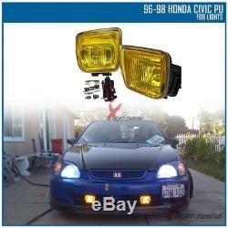 Fits 96 97 98 Honda Civic Mugen Front + Rear Bumper Lip + Hood Grill + Fog Light