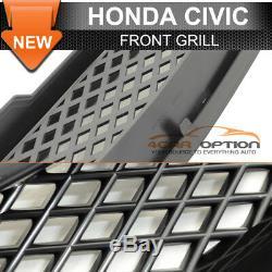 Fits 96-98 Honda Civic 4Dr Front Rear Bumper Lip + ABS Hood Grill + Window Visor