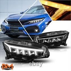 For 16-18 Honda Civic LED DRL+Sequential Turn Signal Type-R Style Headlight/Lamp