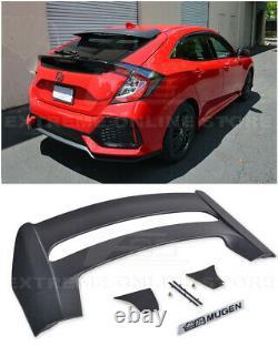 For 16-Up Honda Civic Hatchback MUGEN Style Rear Roof Wing Spoiler BLACK Emblem
