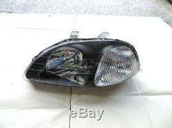 For 1996-1998 Honda Civic Type R Style EK9 EK4 EM1 JDM black Headlights CTR Si