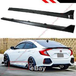 For 2016-2019 Honda CIVIC 4dr Sedan Fk8 Type-r Style Black Side Skirt Extension