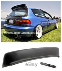 For 92-95 Honda Civic 3Dr BYS Style ABS Rear Roof Wing Spoiler Lip With BYS Emblem