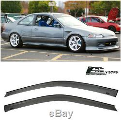 For 92-95 Honda Civic Coupe JDM Smoke Tinted Side Window Visors Rain Guard EG SI