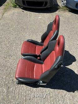 HONDA S2000 RED/BLACK LEATHER SEATS PAIR AP1 AP2 99-05 Type-R CRX CIVIC INTEGRA
