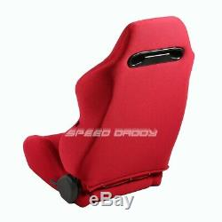 Nrg Type-r Red Reclinable Racing Seats+low Mount Bracket For 01-05 Honda CIVIC