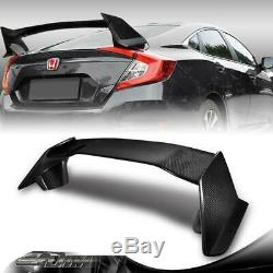 Type-R Real Carbon Fiber Rear Trunk Spoiler Wing For 2016-2019 Honda Civic Sedan