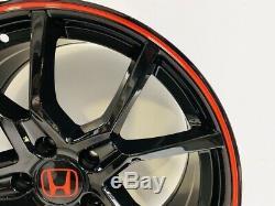 Type R Style 18x8 5x114.3 +41 Black Red Wheels Fits Honda Accord Civic CR-Z